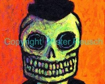 Undertaker Skeleton Man Signed Art Print by Mister Reusch