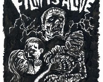 Coolidge Corner Theatre FILM IS ALIVE Original Monster Ink Painting by Mister Reusch