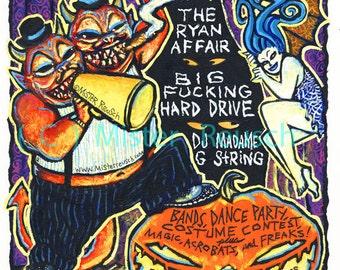 2002 Halloween Masquerade Original Painted Event Poster by Mister Reusch