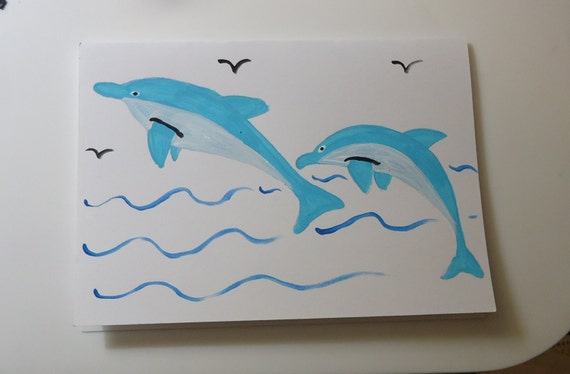 Hand Painted Card DOLPHIN Cards Greeting