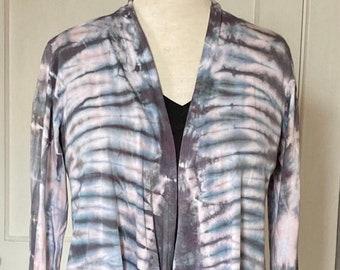 Tie Dye Pink and Gray Elegant Drape Waterfall Jacket