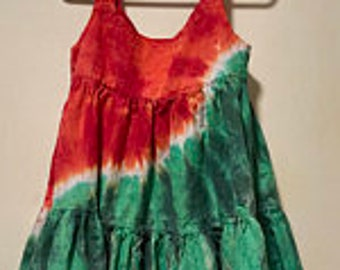 Tie Dye Girl's Watermelon Cotton Gauze Tiered Sundress
