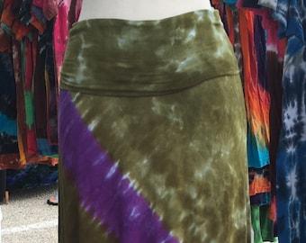 Krawatte Farbstoff Viskose Jersey Maxi-Rock in grün und lila