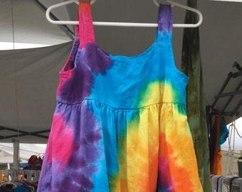 Krawatte Farbstoff Mädchen die Regenbogen-Baumwoll-Gaze Tier Sommerkleid