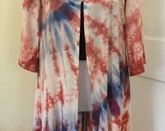 blue and purple Tie Dye Duster Jacket in Coral Pink