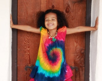 Tie Dye Rainbow Swirl Puff Sleeve Toddler Dress