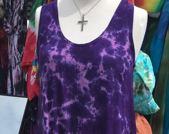 Tie Dye HI-lo Purple and Green Tank Dress