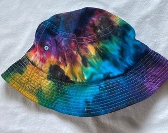 Tie Dye Adult Black Rainbow Sportsman Bucket Hat