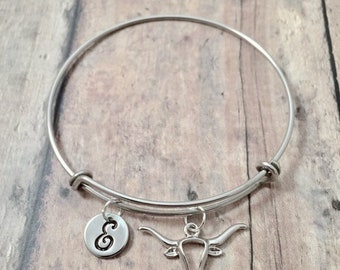 HPS Texas Longhorns Double Leather Band Bracelet with Charm