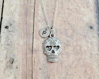 Mexican Skull Calavera Gold Plated Necklace Gift Box Mexican Bone Head Day Dead