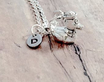 Sterling silver 925 Baby Duckling Necklace Cute Bird CZ Pendant Necklace  N42