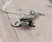 Raven initial necklace - raven jewelry, crow jewelry, black bird jewelry, raven necklace, bird necklace, crow necklace, raven gift
