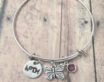 acee0871d Hypoparathyroidism (hPTH) bangle - hPTH bracelet, hypoparathyroidism jewelry,  hPTH jewelry, butterfly bangle, thyroid jewelry, hPTH gift