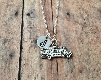 School bus initial necklace - school bus jewelry, teacher necklace, school jewelry, gift for teacher, school bus charm, gift for bus driver