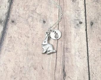 Bunny initial necklace - bunny jewelry, rabbit jewelry, Easter jewelry, silver bunny pendant, rabbit necklace, Easter necklace, bunny gift