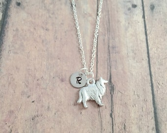 Collie initial necklace - Collie jewelry, dog breed jewelry, Sheltie jewelry, Collie necklace, dog breed necklace, Sheltie gift, Collie gift