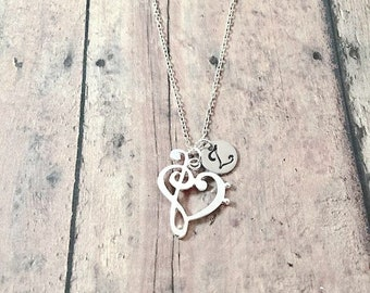 Treble clef & bass clef heart initial necklace - treble clef jewelry, music jewelry, music teacher gift, music necklace, silver treble clef