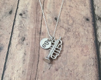 Trumpet initial necklace - trumpet jewelry, music necklace, band jewelry, instrument jewelry, gift for musician, silver trumpet pendant