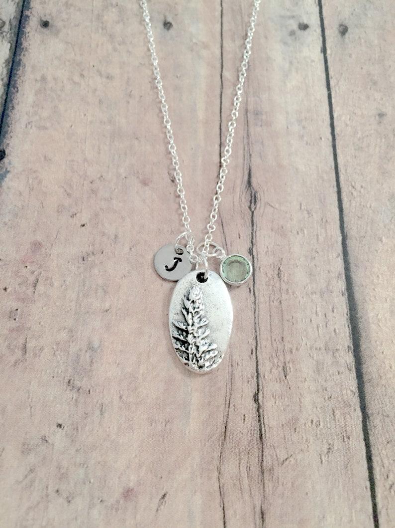redwood tree jewelry tree gift Redwood tree initial necklace redwood tree necklace nature jewelry woodland jewelry pine tree necklace
