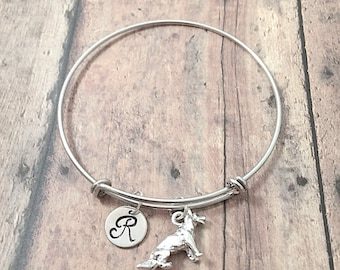 German Shepherd initial bangle - German Shepherd jewelry, police dog jewelry, GSD jewelry, silver German Shepherd pendant, K9 jewelry