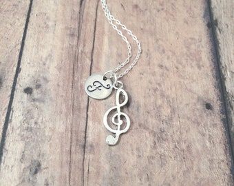 Treble clef initial necklace - treble clef jewelry, music necklace, band jewelry, gift for musician, music teacher gift, treble clef pendant