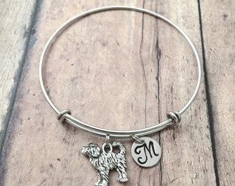 Labradoodle initial bangle - Labradoodle jewelry, dog breed jewelry, silver Labradoodle pendant, dog breed bangle, water dog jewelry