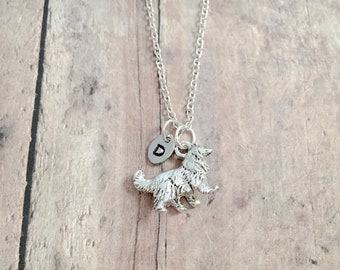 Collie initial necklace - collie dog jewelry, sheltie jewelry, dog breed jewelry, sheltie necklace, collie dog necklace, collie gift