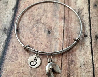 Fortune cookie initial bangle - fortune cookie bracelet, silver fortune cookie bracelet, fortune cookie jewelry, Chinese food jewelry