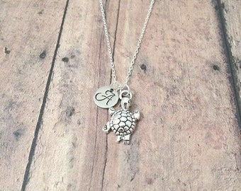 Turtle initial necklace - turtle jewelry, tortoise necklace, reptile jewelry, pet turtle necklace, terrapin necklace, silver turtle pendant