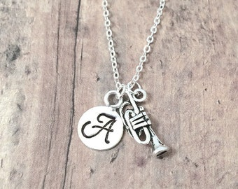 Trumpet initial necklace - trumpet jewelry, music jewelry, band jewelry, silver trumpet pendant, band necklace, music instrument jewelry