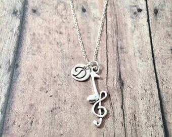 Treble clef and music note initial necklace - music jewelry, treble clef jewelry, musician gift, music teacher gift, musician jewelry