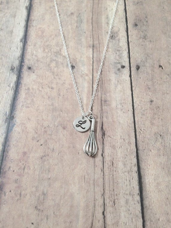 Whisk initial necklace  whisk jewelry cooking jewelry chef