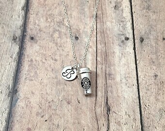 Coffee cup initial necklace - coffee cup jewelry, barista jewelry, coffee necklace, to go coffee necklace, silver coffee cup pendant