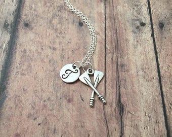 Oars initial necklace - oars jewelry, rowing crew necklace, oars necklace, rowing necklace, silver oars pendant, rower jewelry