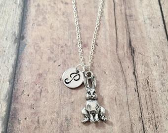 Bunny initial necklace - bunny jewelry, rabbit jewelry, pet jewelry, silver bunny pendant, Easter jewelry, rabbit necklace, bunny gift