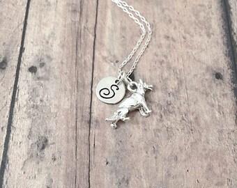 German Shepherd initial necklace - German Shepherd jewelry, police dog jewelry, GSD jewelry, silver German Shepherd pendant, K9 jewelry