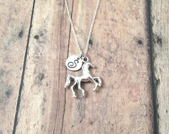 Horse initial necklace - horse jewelry, equestrian jewelry, western jewelry, silver horse pendant, equestrian necklace, horse necklace