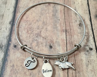 Flying pig 'Believe' initial bangle - flying pig jewelry, believe bracelet, inspirational jewelry, pig bracelet, silver flying pig pendant