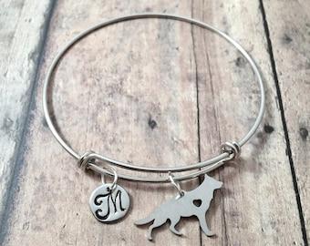 German Shepherd initial bangle - German Shepherd jewelry, police dog jewelry, GSD jewelry, K9 jewelry, silver German Shepherd bracelet