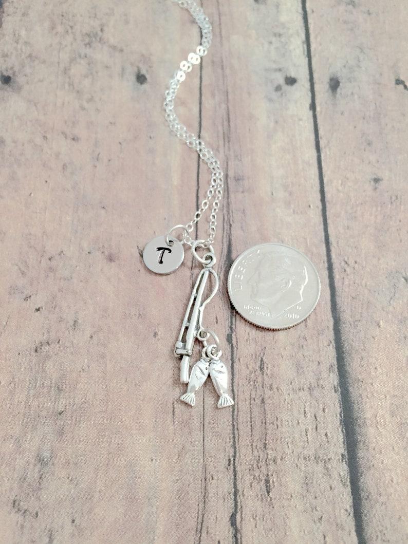 sterling silver fishing jewelry Fishing pole initial necklace lake jewelry silver fishing pole necklace - fishing pole jewelry