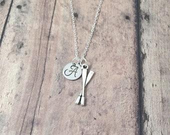 Oars initial necklace - oars jewelry, rowing jewelry, oar necklace, rowing necklace, silver oars pendant, crew jewelry, rowing crew necklace