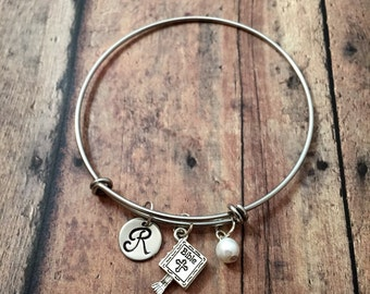 Bible initial bangle with pearl- bible bracelet, church bracelet, religious jewelry, bible bracelet, Christian jewelry, holy bible bracelet