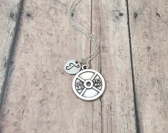 Weightlifting initial necklace - weightlifting jewelry, fitness jewelry, weight plate pendant, bodybuilder necklace, gym jewelry