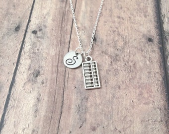 Abacus initial necklace - abacus jewelry, math necklace, accountant jewelry, math teacher gift, silver abacus pendant, math jewelry