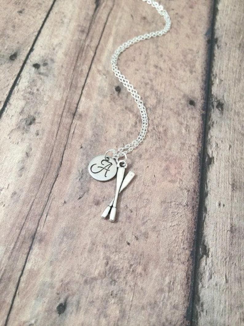 oar necklace oars jewelry rowing jewelry silver oars pendant rowing necklace Oars initial necklace crew jewelry rowing crew necklace