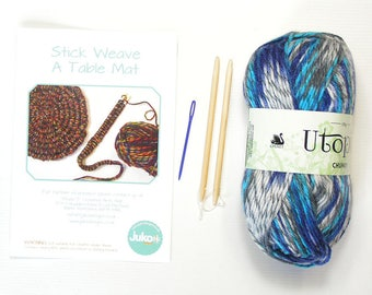Stick weaving kit to Make a Multi Coloured  Blue Table Mat