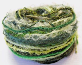 Variety Yarn Hank in a selection of Greens.