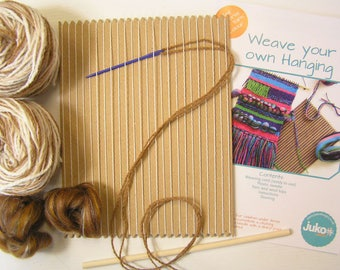 Weave a Wall Hanging in Cream and Brown colours, Weaving Kit