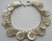 Sterling Silver and Antique Mother Of Pearl Button Bracelet
