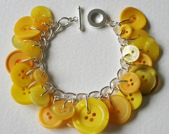 Button Bracelet Mustard and Lemon Yellow